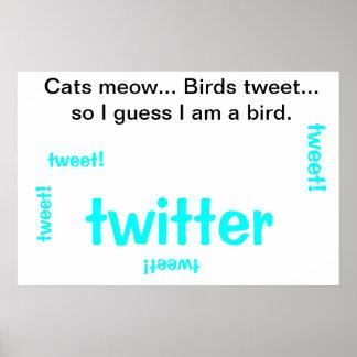 Sind Sie eine Katze oder ein Vogel? Plakatdruck