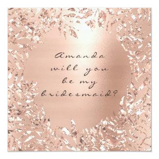 Sind Sie mein Blumen Brautjungfern-Rosa-Rosen-Gold Karte