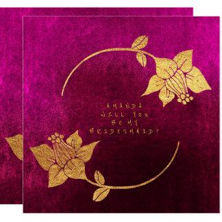 Sind Sie mein Brautjungfern-Rosa-Fuchsien-Samt Karte