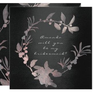 Sind Sie mein Brautjungfern-Rosa-Grungy schwarzer Quadratische 13,3 Cm Einladungskarte