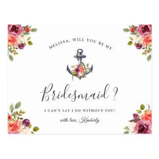 Sind Sie mein Brautjungfern-Seeblumenanker Postkarte
