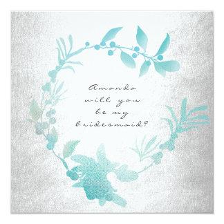 Sind Sie mein Brautjungfern-Silber-Tiffany-Kranz Quadratische 13,3 Cm Einladungskarte
