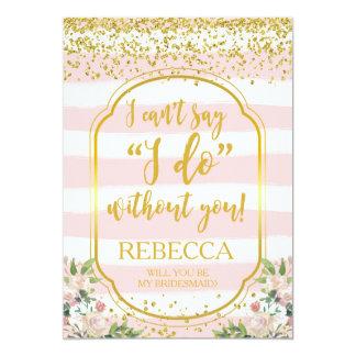Sind Sie mein Brautjungfernkartenrosa und -gold Karte