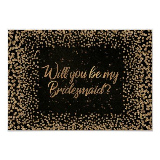Sind Sie mein Glitzer-Gold Brautjungfern-Browns 8,9 X 12,7 Cm Einladungskarte