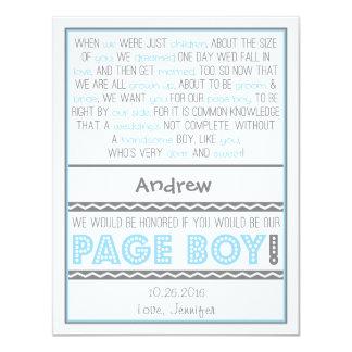 Sind Sie mein Seiten-Junge? Baby-Blau/graue 10,8 X 14 Cm Einladungskarte