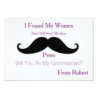 Sind Sie mein Trauzeuge-Schwarz-Schnurrbart 12,7 X 17,8 Cm Einladungskarte
