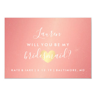 Will You Be My Bridesmaid - Glam Heart Pink