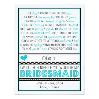 Sind Sie meine Brautjungfer? Blaue/schwarze 10,8 X 14 Cm Einladungskarte