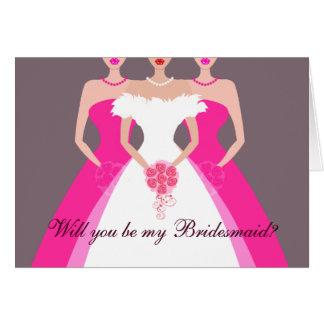 Sind Sie meine Brautjungfer? Brautparty (fuschia) Karte