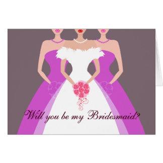 Sind Sie meine Brautjungfer? Brautparty (lila) Karte