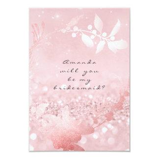 Sind Sie meine Brautjungfer, die Rose Wreath-Rosa 8,9 X 12,7 Cm Einladungskarte