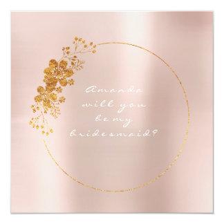 Sind Sie meine Brautjungfer, Gold, dasweiß Rosa Quadratische 13,3 Cm Einladungskarte