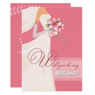 Sind Sie meine Brautjungfer? Kundenspezifische 12,7 X 17,8 Cm Einladungskarte