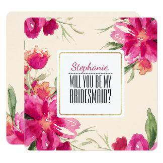 Sind Sie meine Brautjungfer? Kundenspezifische Quadratische 13,3 Cm Einladungskarte