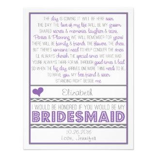 Sind Sie meine Brautjungfer Lila graue Personalisierte Ankündigungskarten