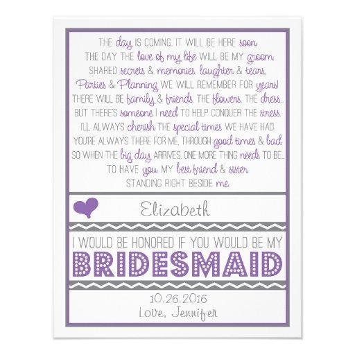 Sind Sie meine Brautjungfer? Lila/graue Personalisierte Ankündigungskarten