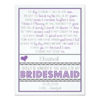 Sind Sie meine Brautjungfer? Lila/graue 10,8 X 14 Cm Einladungskarte