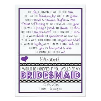 Sind Sie meine Brautjungfer? Lila/schwarze 10,8 X 14 Cm Einladungskarte