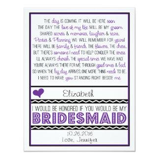 Sind Sie meine Brautjungfer? Lila/schwarzes 10,8 X 14 Cm Einladungskarte