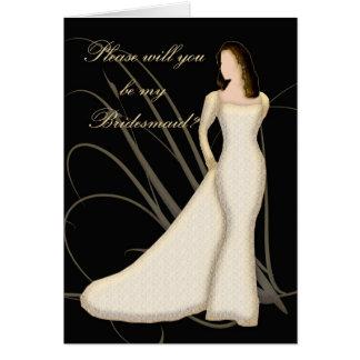 Sind Sie meine Brautjungfer Pfirsich-Spitze Karte