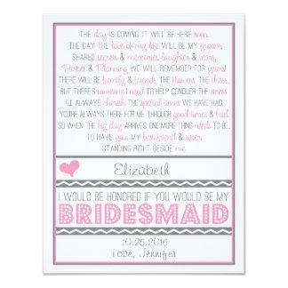 Sind Sie meine Brautjungfer? Rosa/graue 10,8 X 14 Cm Einladungskarte