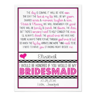 Sind Sie meine Brautjungfer Rosa schwarze Einladungskarten