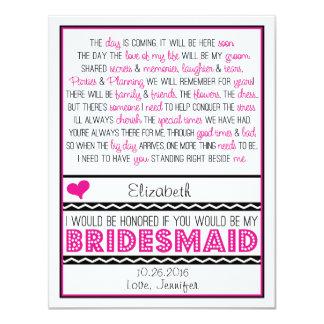Sind Sie meine Brautjungfer? Rosa/schwarze 10,8 X 14 Cm Einladungskarte