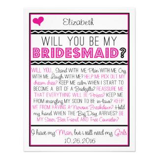 Sind Sie meine Brautjungfer? Rosa/schwarze Individuelle Einladungskarte