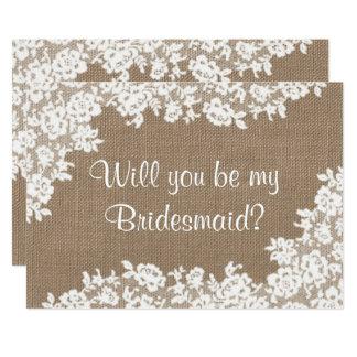 Sind Sie meine Brautjungfer? Rustikale Leinwand u. Karte