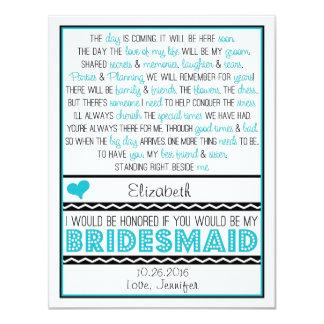 Sind Sie meine Brautjungfer? Türkis/schwarzes 10,8 X 14 Cm Einladungskarte