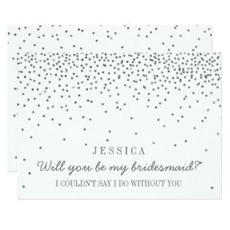 Sind Sie meine Brautjungfer? Vintager silberner 12,7 X 17,8 Cm Einladungskarte