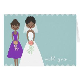 Sind Sie meine Brautjungfern-Gruß-Karte - Karte