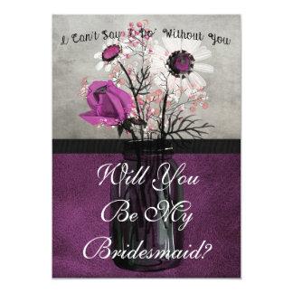 Sind Sie meine Brautjungfern-lila personalisierte 12,7 X 17,8 Cm Einladungskarte