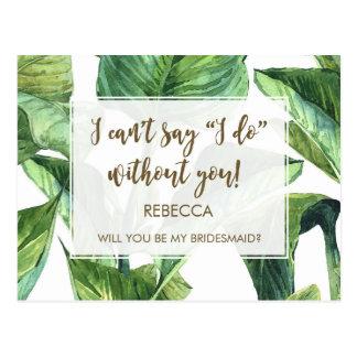 sind Sie meine Brautjungfernkarten-Palmblatttropen Postkarte