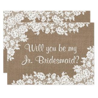 Sind Sie meine jr.-Brautjungfern-rustikale Karte