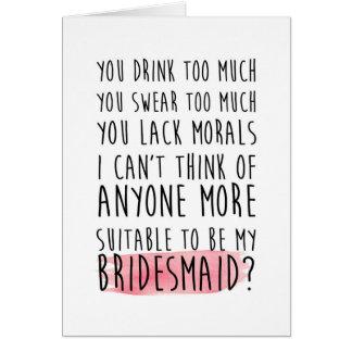sind Sie meine lustige Karte der Brautjungfer