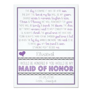 Sind Sie meine Trauzeugin-lila/graue Gedicht-Karte 10,8 X 14 Cm Einladungskarte