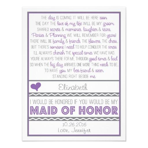 Sind Sie meine Trauzeugin-lila/graue Gedicht-Karte Einladungen