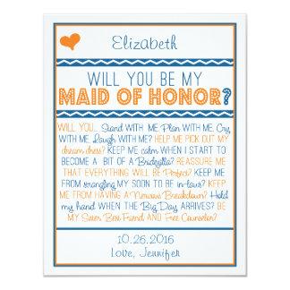 Sind Sie meine Trauzeugin? Marine/orange Gedicht 10,8 X 14 Cm Einladungskarte