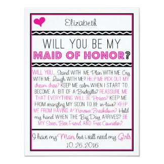 Sind Sie meine Trauzeugin? Rosa/schwarze Collage 10,8 X 14 Cm Einladungskarte