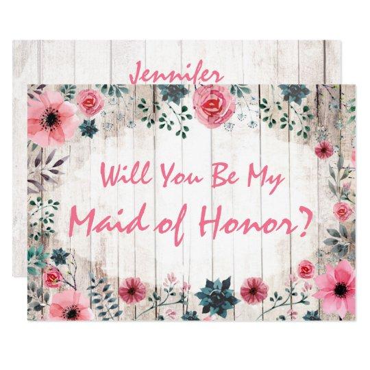 Sind Sie Meine Trauzeugin Rustikale Blumenhochzeit Einladung Zazzle