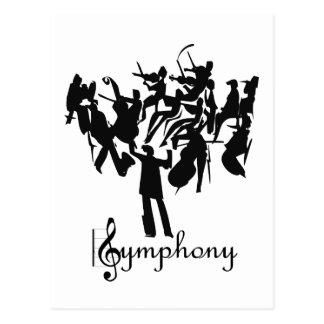 Sinfonieorchester in einem stilisierten Entwurf Postkarte