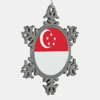 Singapur-Flagge Schneeflocken Zinn-Ornament