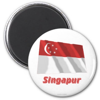 Singapur Fliegende Flagge MIT Namen Runder Magnet 5,1 Cm