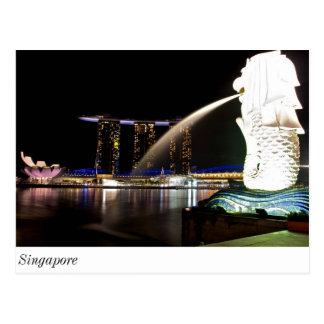 Singapur Merlion an der Jachthafen-Bucht Postkarte