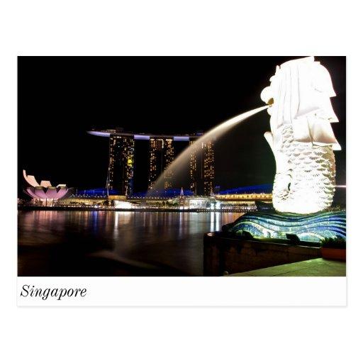 Singapur Merlion an der Jachthafen-Bucht Postkarten