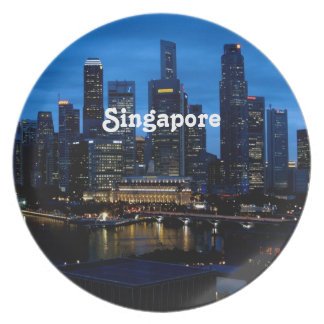 Singapur-Stadtbild Flache Teller