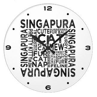 Singapura Katzen-Typografie Große Wanduhr