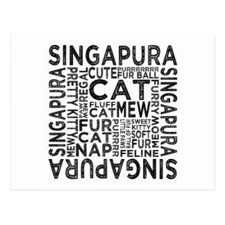 Singapura Katzen-Typografie Postkarte