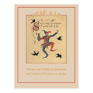 Singen Sie ein Lied der Sixpencestück-viel Postkarte